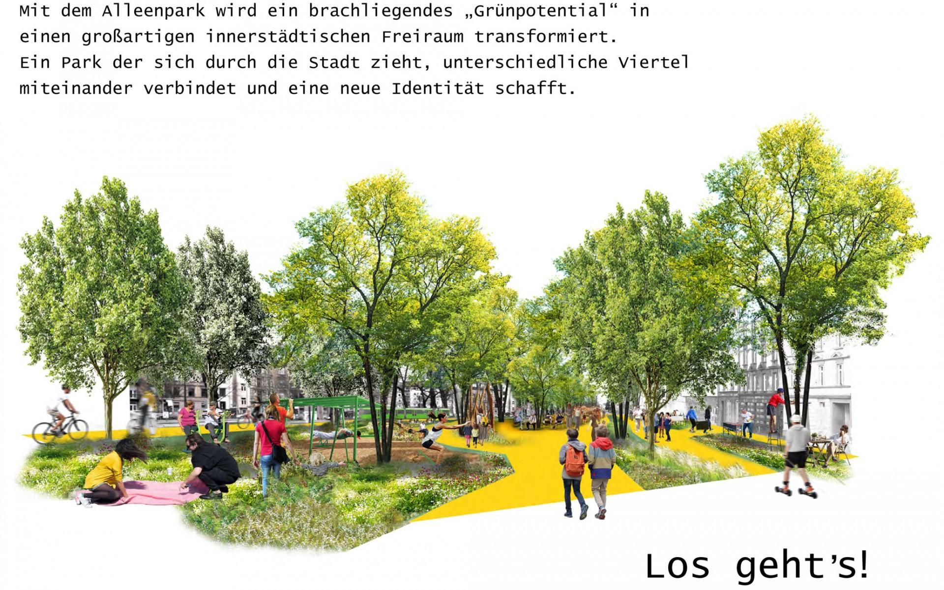 """Drei Eins – Architektur- und Stadtplanungsbüro in Frankfurt Wettbewerb »ZEIT für Deine Stadt« – """"Grün für alle! Alleenpark Ffm"""""""