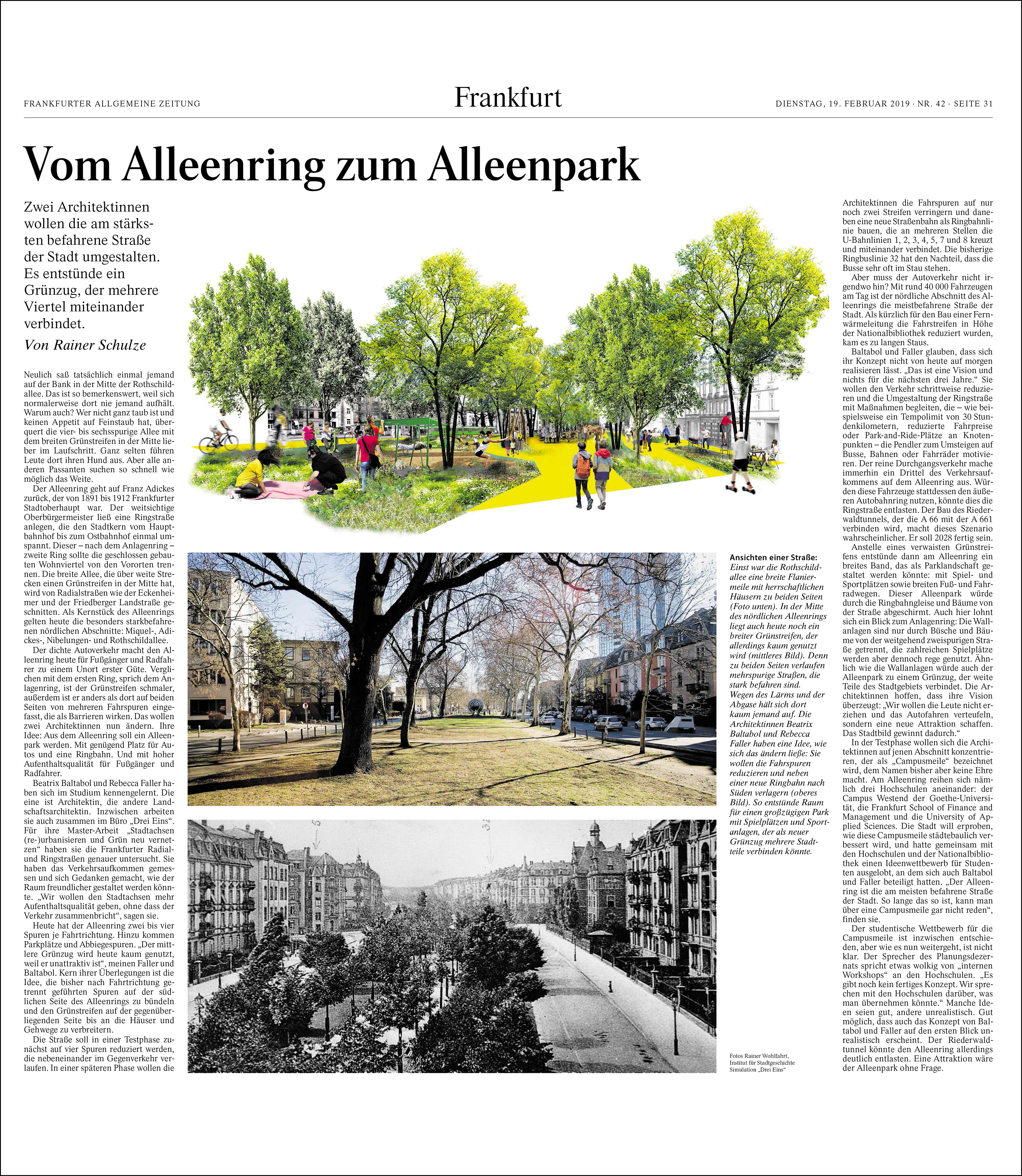 """Drei Eins – Architektur- und Stadtplanungsbüro in Frankfurt F.A.Z. Rhein-Main-Zeitung """"Vom Alleenring zum Alleenpark"""" Copy"""